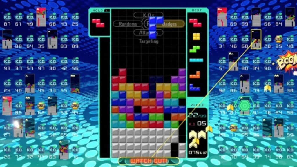 Tetris 99 in action.